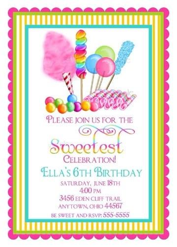 invitaciones para fiesta de niños dulces