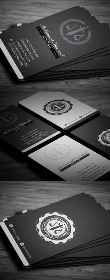 modelos de tarjetas de abogados blanco y negro