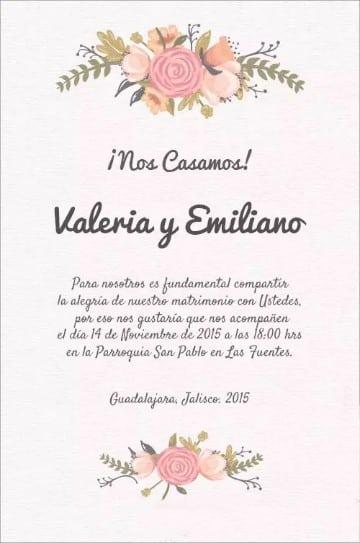 tarjetas de bodas en español rosada