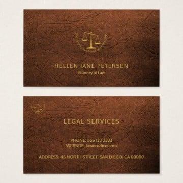 tarjetas de presentación de abogados en marron