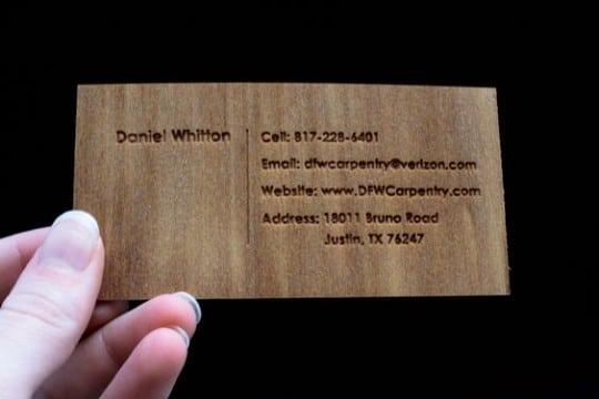 tarjetas de presentacion carpinteria con troquel