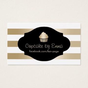 tarjetas de presentacion de cupcakes en negro