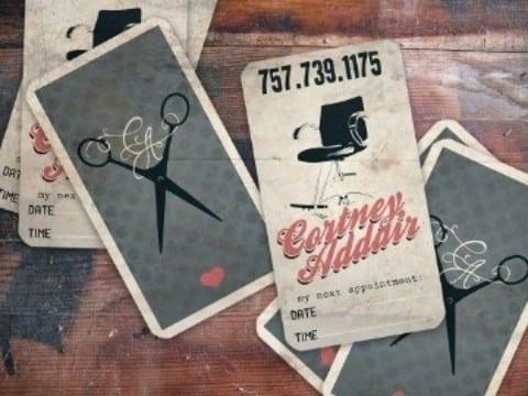 tarjetas de presentacion de peluqueria vintage
