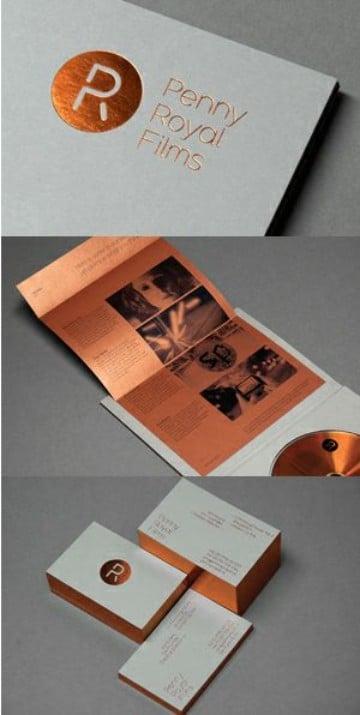 tarjetas de presentacion formales en cobre