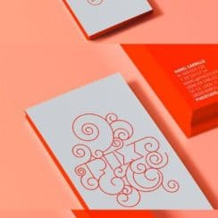 tarjetas de presentacion verticales en naranja