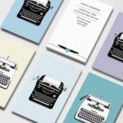 tarjetas de presentacion vintage para escritores