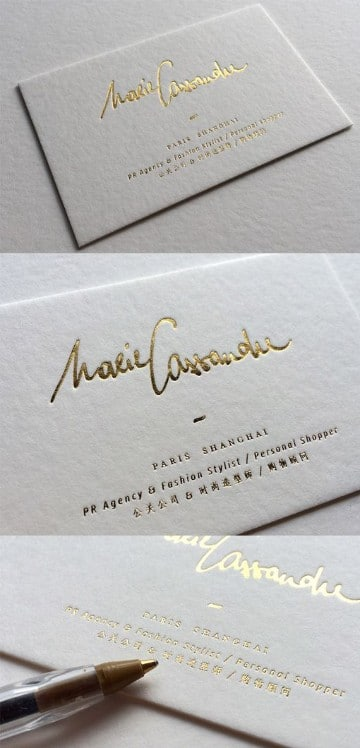 tarjetas personales elegantes en dorado
