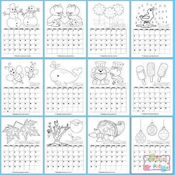 calendarios creativos para niños para colorear