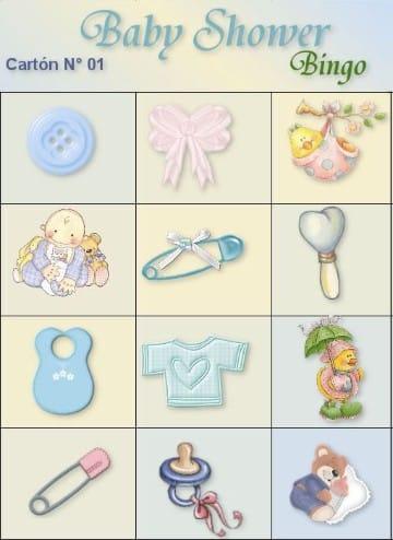 cartones de bingo para imprimir baby shower