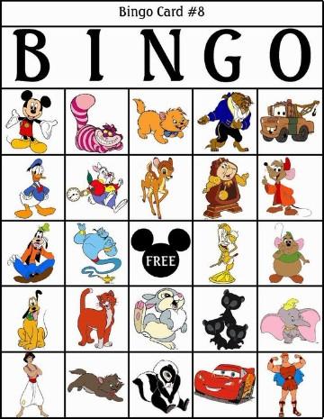 cartones de bingo para imprimir disney