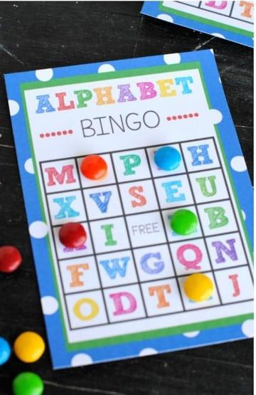 cartones de bingo para niños alfabeto