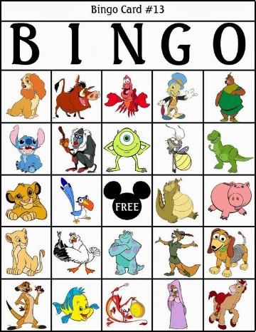 cartones de bingo para niños disney