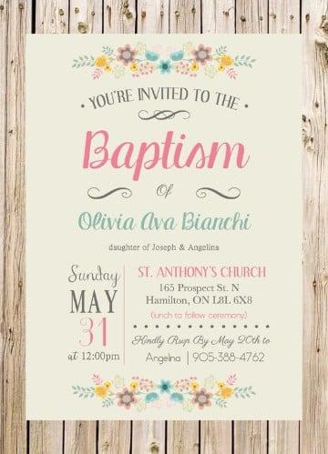 diseños de invitaciones de bautizo para niña