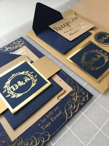 invitaciones de boda azul 3D