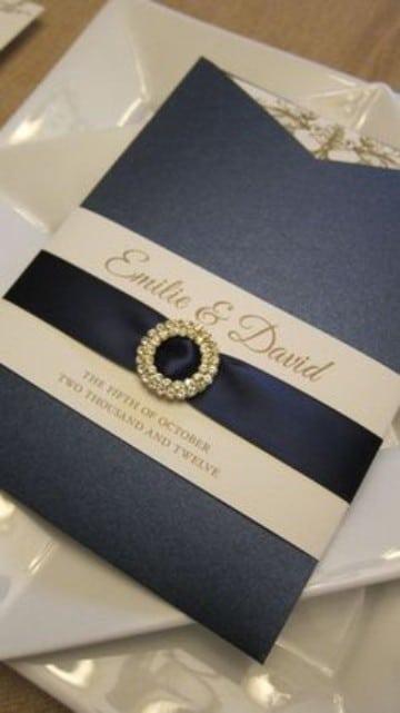 invitaciones de boda azul con dorado
