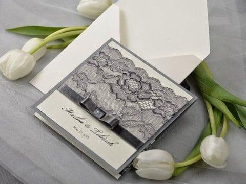 invitaciones de boda con encaje negro