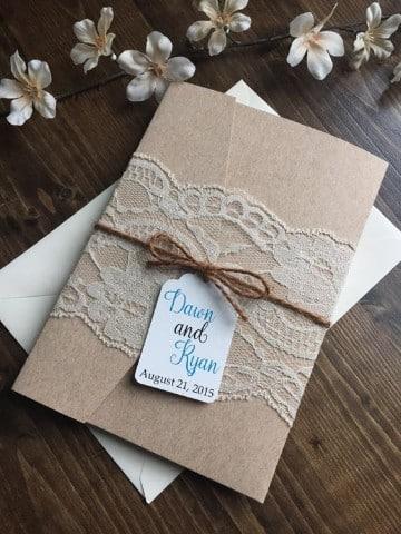 invitaciones de boda con encaje vintage