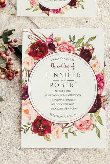 invitaciones de boda con flores con diseño