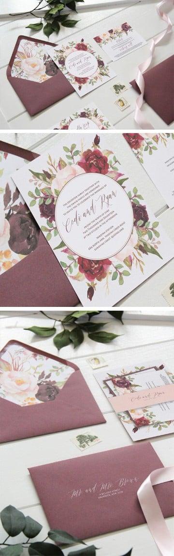 invitaciones de boda con flores en lila