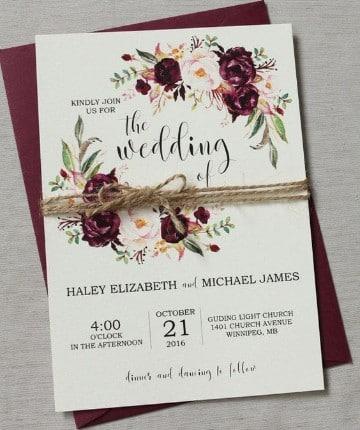invitaciones de boda con flores sencillas