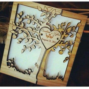 invitaciones de boda en madera creativas