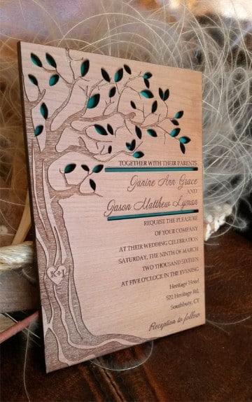 invitaciones de boda en madera troqueladas