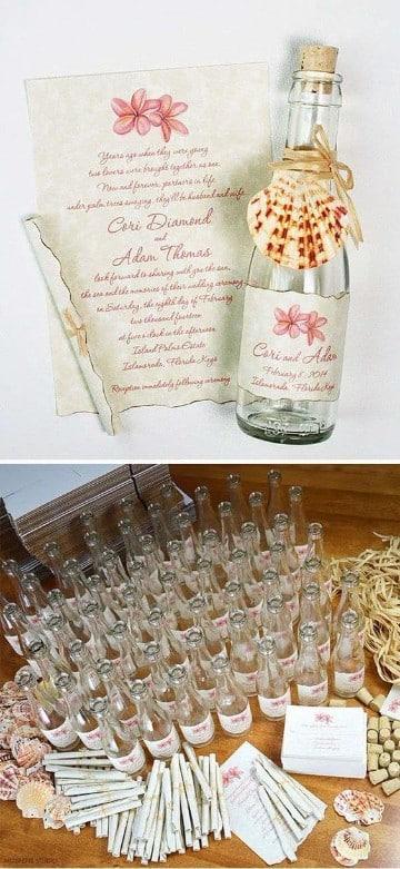 invitaciones de boda pergamino botella