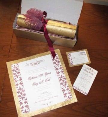 invitaciones de boda pergamino con rojo
