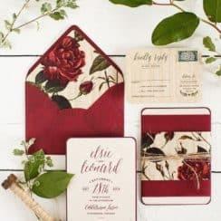 invitaciones de boda rojas con blanco
