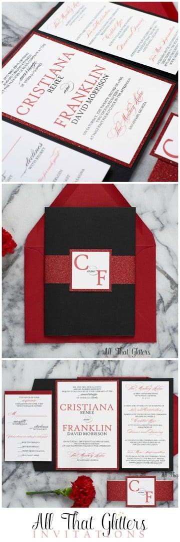 invitaciones de boda rojas con negro