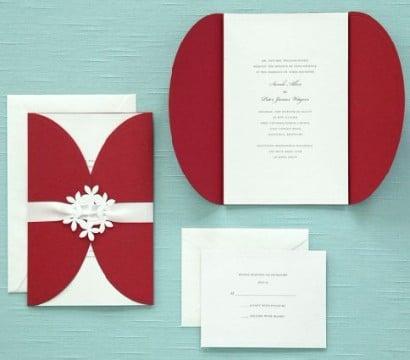 invitaciones de boda rojo y blanco sencillas