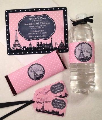 invitaciones de la torre eiffel en rosado