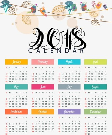 modelos de calendarios 2018 con color