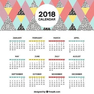modelos de calendarios 2018 sencillo