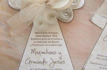 tarjetas de invitacion en cartulina bautizo