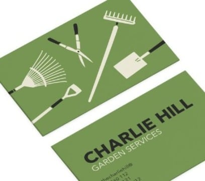 tarjetas de presentacion jardineria en verde
