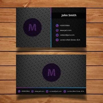 tarjetas de presentacion negras y moradas