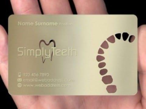 tarjetas de presentacion odontologia dorada