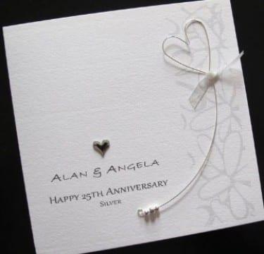 tarjetas para bodas de plata delicada