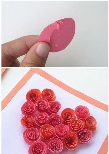 como hacer tarjetas de corazon con espirales de papel