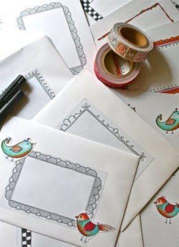 dibujos para cartas de amistad en sobres