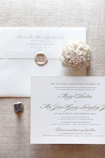 invitaciones de boda en blanco elegante