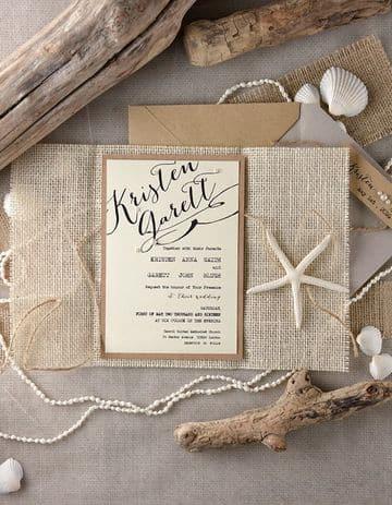 invitaciones de boda en la playa artesanal
