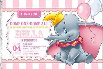 tarjetas de invitacion para niñas de dumbo