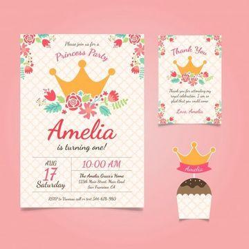 tarjetas de invitacion para niñas sencilla