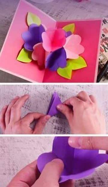 tarjetas pop up paso a paso de flores
