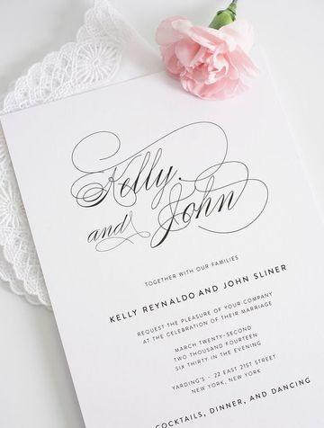 modelos de tarjetas de casamiento minimalistas