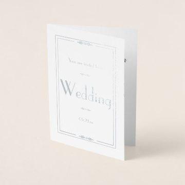 tarjetas de casamiento sencillas con plateado
