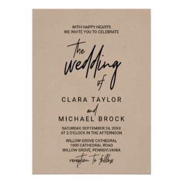 tarjetas de casamiento sencillas en papel craft