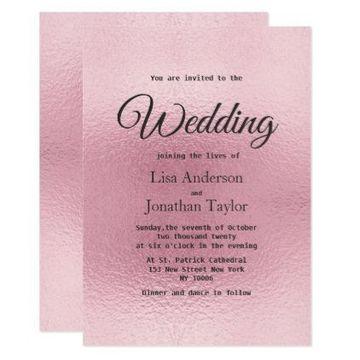 tarjetas de casamiento sencillas en rosa